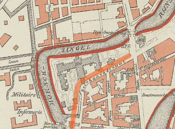 Historic map of Leiden, zoomed in on Pavilion region