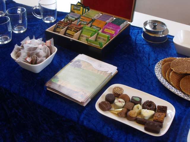 A selection of fine teas, bonbons and stroopwafels.
